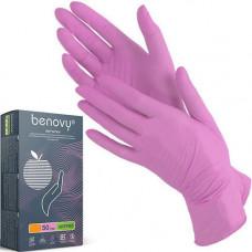 Перчатки нитрил Розовые 1 кор. L (50 пар)